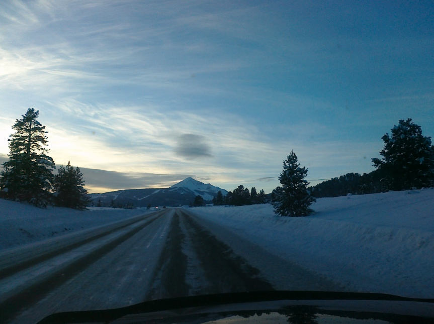 Wintry Lone Mountain Trail road into Big Sky's Meadow Village resort community.