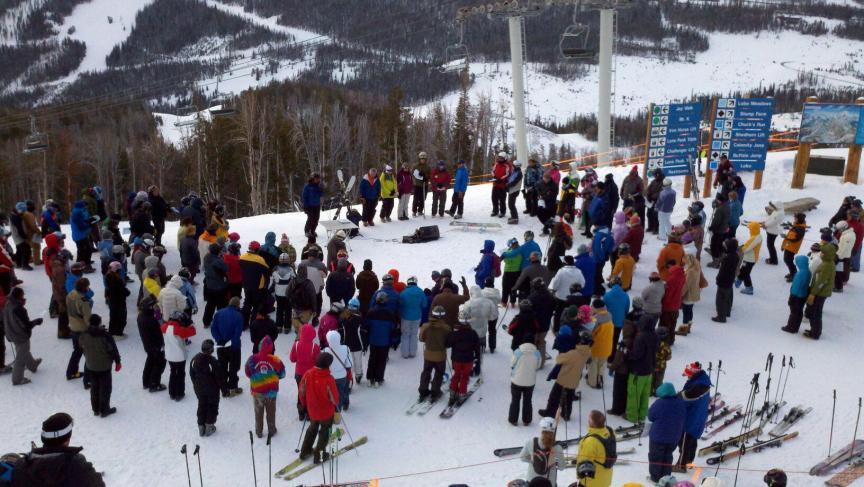 Easter Sunrise Gathering April 2012 at top of SwiftCurrent Chairlift 7:00am - Big Sky Ski Resort