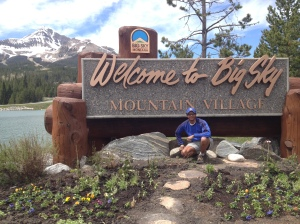 Me at the Mountain Village signage in Big Sky.