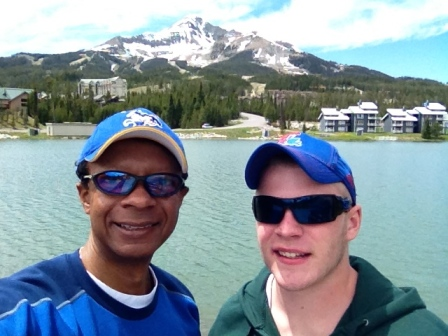 Brad with Sojourner Missionary, Travis Hays at Lake Levinsky in Big Sky