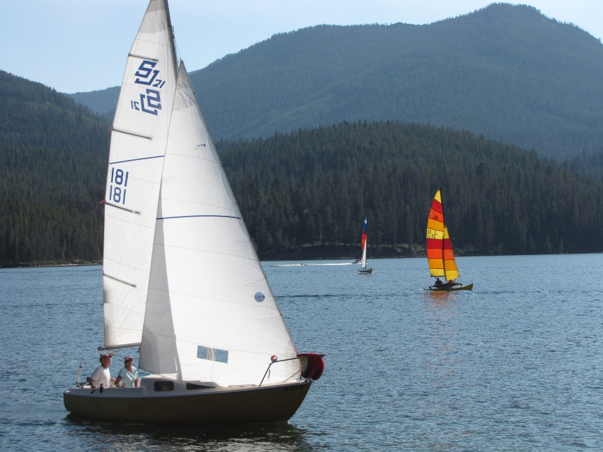 Sailboat Race at the Hebgen Lake Yacht Club on Hebgen Lake near West Yellowstone, Montana