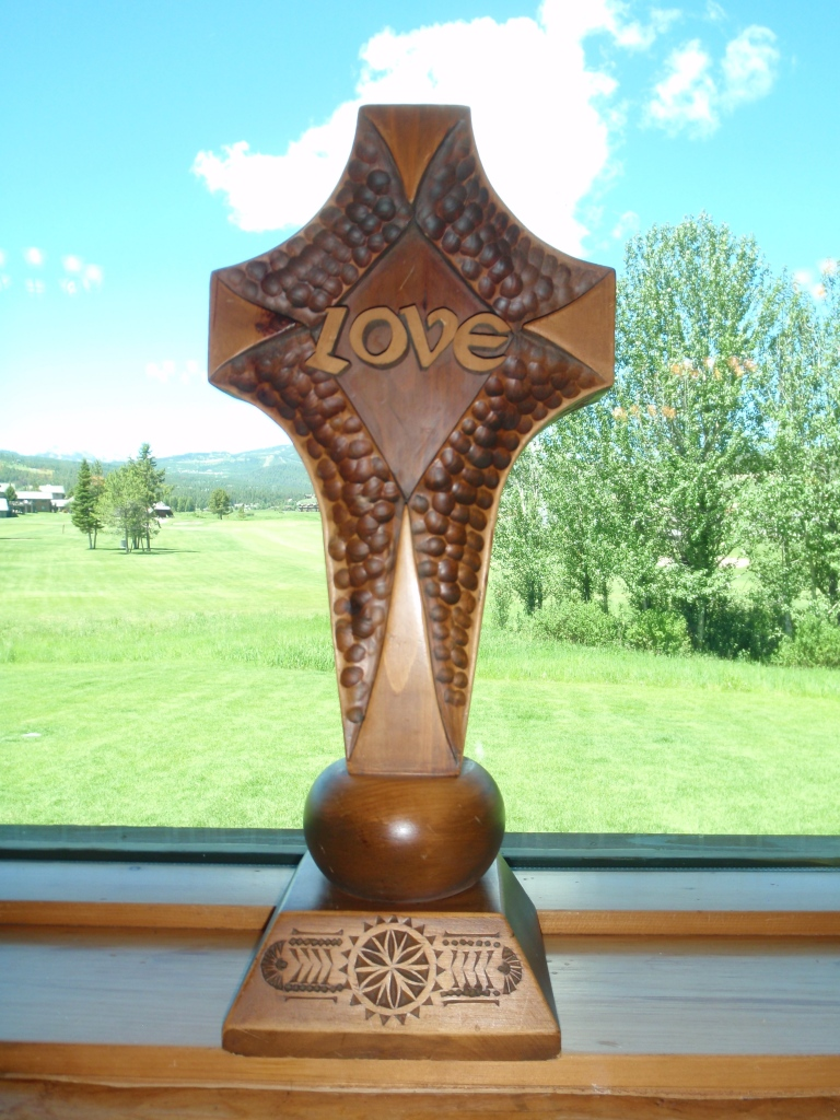 IN LOVING MEMORY OF ALL MOTHERS DONATED BY Barbara & Phil Hoberecht  and Evelyn Warner Sumner Carved by Victor Liebetseder - Lienz,  Austria On Display at Big Sky Chapel - Big Sky, Montana